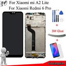 """5.84 """"AAA جودة LCD الإطار ل Xiao mi mi A2 لايت شاشة الكريستال السائل مجموعة المحولات الرقمية لشاشة تعمل بلمس ل Xiao mi الأحمر mi 6 برو LCD استبدال"""