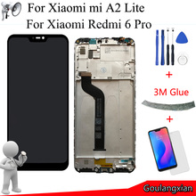 Marco + pantalla LCD de calidad AAA de 5,84 pulgadas para Xiaomi Mi A2 Lite, montaje de digitalizador con pantalla táctil para Xiaomi Redmi 6 Pro, repuesto de pantalla LCD
