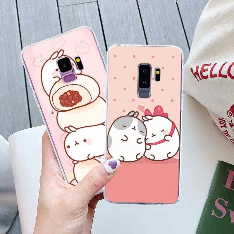Molang кроликов кавайная коробка телефонные чехлы для samsung Galaxy S10 плюс S10e S8 S9 плюс S6 S7 край A50 Note 8 9 мягкий кейс из силикона и ТПУ