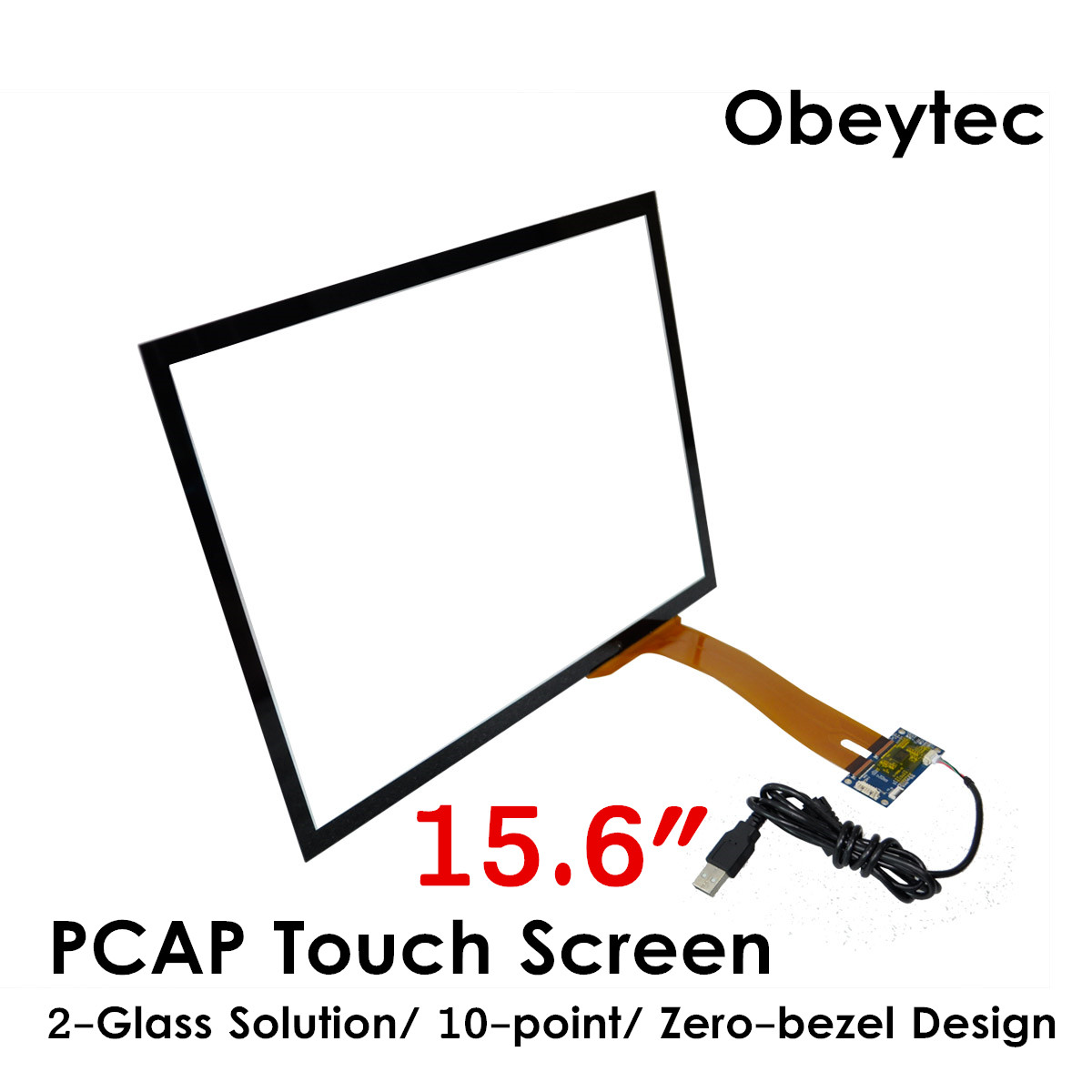 Écran tactile Obeytec 15.6 pouces P-CAP, capteur tactile capacitif, pilote USB plug and play, solution 2 verres, 10 points tactiles