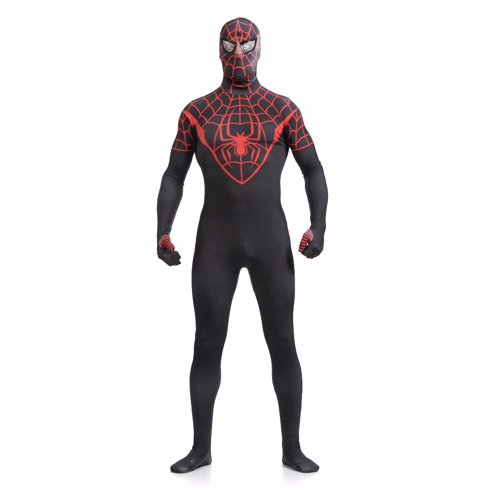 Black Red Zentai Spiderman Costume Adult Lycra Spandex Spider-man Cosplay Suit Superhero Homecoming Costume for Halloween Party