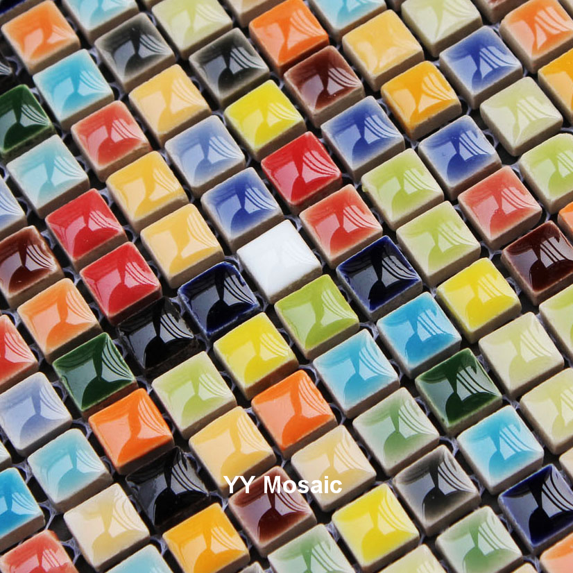Fresh Rainbow Color Ceramic Mosaic Wall Tile For Bathroom
