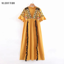 2019 Summer Yellow White Boho Vintage Maxi Dress For Women V-neck Embroidery Tassel Print A-Line Long Dresses Vestidos