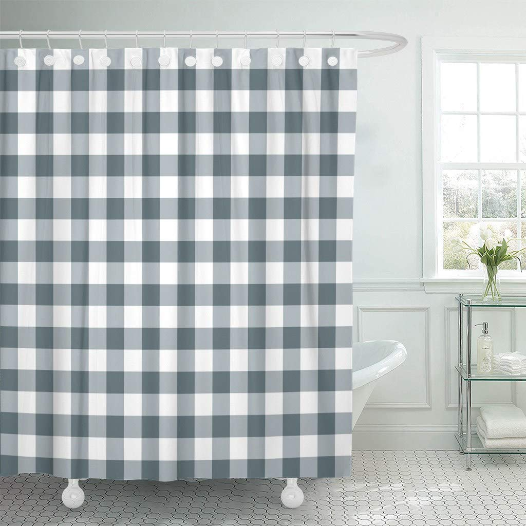 Us 17 06 36 Off Fabric Shower Curtain With Hooks Blue 50s Tablecloths Stylish Gray Gingham Plaid Retro Abstract Breakfast Check In Shower Curtains