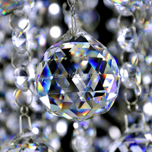 50mm Clear Crystal Chandelier Ball Window Suncatchers Hanging Christmas Ornament Crystal Faceted ball Free Shipping