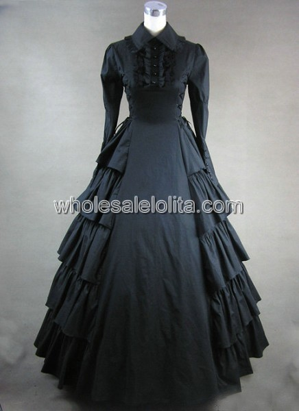 Новая распродажа Косплэй готический, викторианской эпохи платье - Цвет: Черный