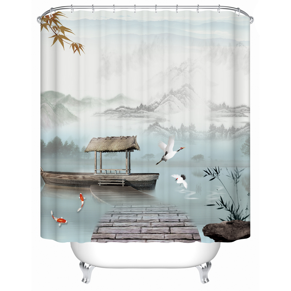 The Traditional Chinese Landscape Painting With Mountain River Pavilion Bamboo Boat Fish White Crane Waterproof Shower Curtain