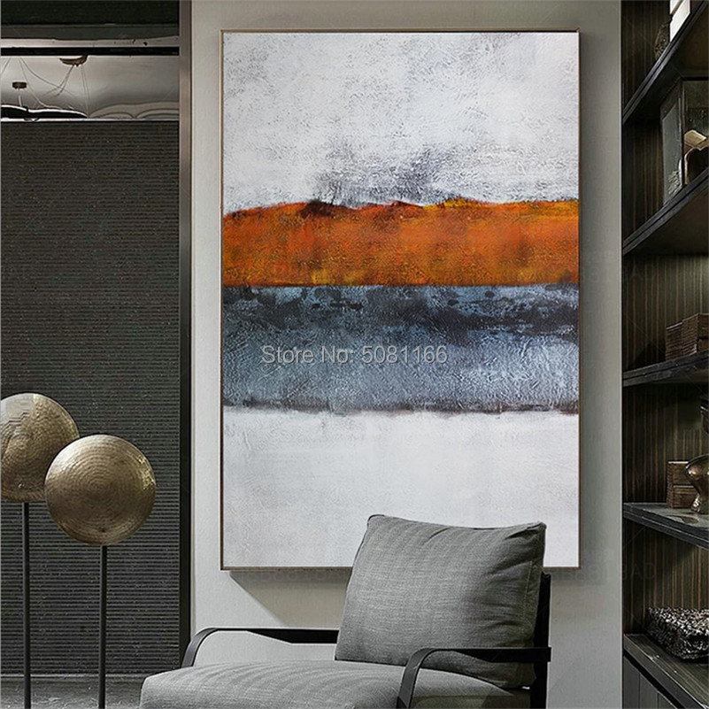 hand painted modern abstract oil paintings on canvas nordic picture grey wall art white beach artwork designed home decorations in Painting Calligraphy from Home Garden