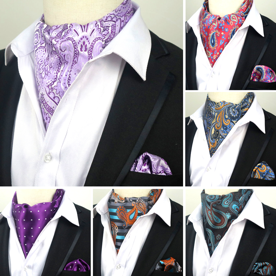 SALE 67 Colors Men Luxury Silk Ascot Tie Set Man Cravat Ties Handkerchief Set Floral Paisley Dots Pocket Square Set For Wedding Party