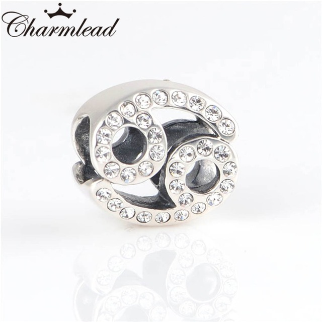 US $15 49  Charmlead 925 Sterling Silver Beads Floating Cancer Zodiac Charm  with CZ Fits Pandora Charms Bracelets Bead DIY Jewelry-in Beads from