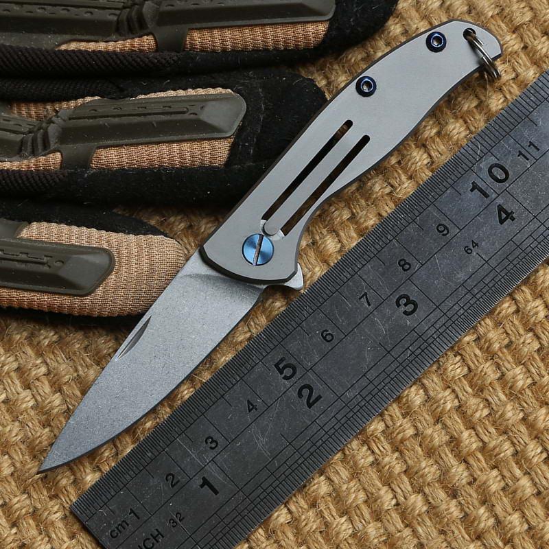 Ben Mini küçük F95 tarzı D2 bıçak Ayı Kafası 95 katlanır bıçak Titanyum açık kamp avcılık cep meyve mutfak bıçak EDC aracı