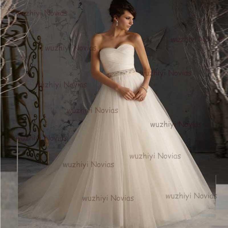 wuzhiyi A line wedding dress tull Pleat vestido de noiva Sashes wedding Gowns Strapless Chinese wedding