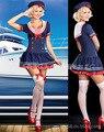 Costums sensuais Da Mulher Sailor Costume Mulheres Halloween Cosplay Vestido Uniforme Da Marinha Azul Royal Disfraces Adultos Trajes Sexy CE510