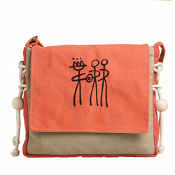 Handmade women shoulder bag Vintage text printing canvas bags Orange Leisure bag China Yunnan Ethnic Group Design Mochila B24
