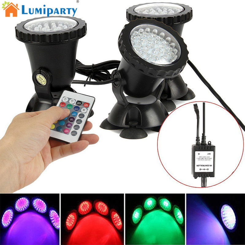 LumiParty 36 LED RGB Spot Light Submersible for Underwater Pool Pond Fountain Landscape Waterproof Spot Lamp jk30 NO Remote