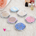 Lady Fashion Round Folding Metal Pocket Mirrors Makeup Vanity Lotus Ceramic Carved Style Portable Hand Mirror pelho de maquiagem