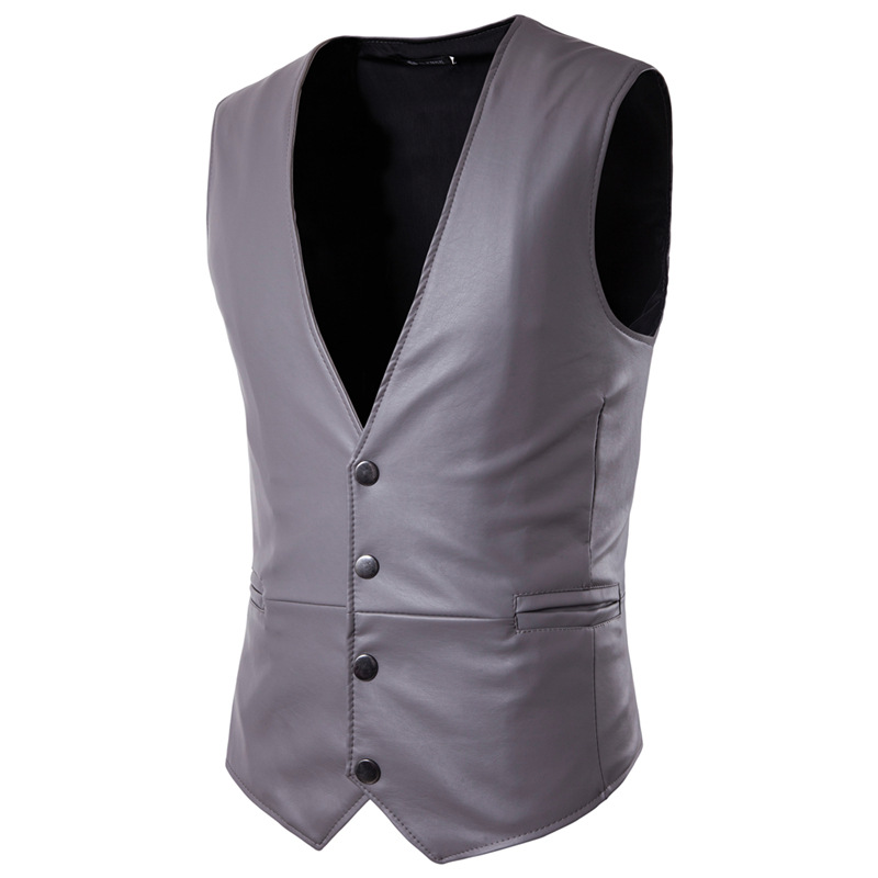 Pu-Vests Waistcoat Business-Jacket Formal Casual Mens Sleeveless Slim-Fit Male Gilet