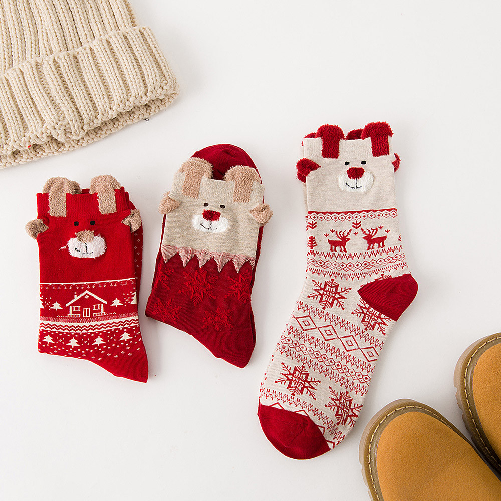 1 Pair Fashion Women Christmas Socks Elk Printed Wool Warm Autumn Winter Xmas