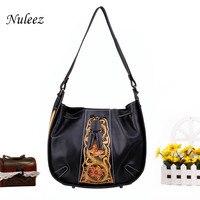 Nuleez пояса из натуральной кожи седельная сумка для женщин сумки на плечо ручной резьба Флора искусная Мода кошелек