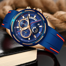 LIGE Hot Gift Men Watches Brand Luxury Silicone Strap Waterproof Sport Quartz Chronograph Military Watch Relogio Masculino