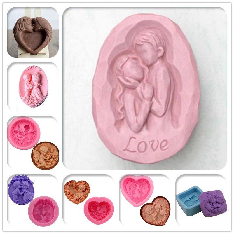 Hot sale Angel Sweetheart lovers DIY Handmade Silicone Soap mold Wedding Resin Clay Craft Molds Silicon