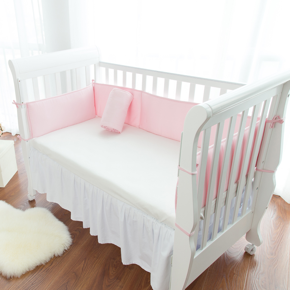 New Pink Crib Bumpers Cotton Baby Bed Bumper Liner Baby