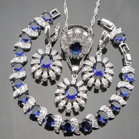 Azul CZ Strass Branco 925 Conjuntos de Jóias Traje Do Natal Das Mulheres Brincos de Prata/Pendente/Pendente da Colar/Anéis/Pulseiras Caixa livre