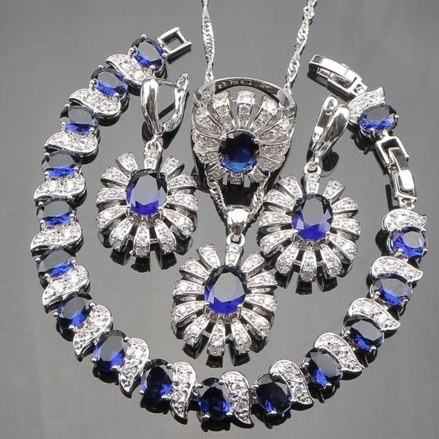 Blue CZ White Rhinestones 925 Silver Christmas Costume Jewelry Sets Women Earrin