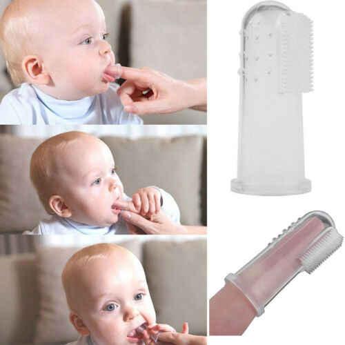 2019 Crianças Bebê Recém-nascido Infantil Kit Kits de cuidados de Saúde de Silicone Suave Dedo escova de Dentes Escova de Dentes Massageador 3 Cores
