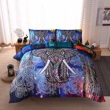 В богемном стиле с принтом слона Набор пододеяльников для пуховых одеял комплект 2/3 шт. один двойной Queen король постельное белье Boho Постельное бельё (без Простыни без наполнения)