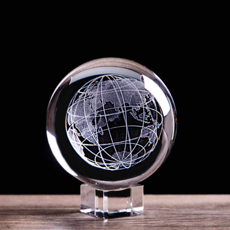 3D Laser Engraved Earth Crystal Ball Miniature Glass Marbles Sphere Globe Paperweight Astronomy enthusiast Collectible Model