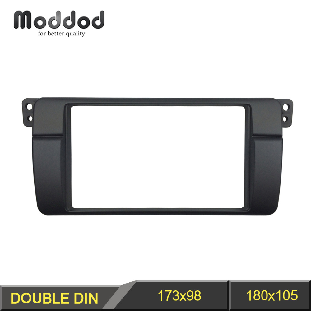 Double Din Radio Fascia för BMW 3 Series E46 1998-2005 Stereo Panel Dash Trim Kit Ram Surround Plate Bezel