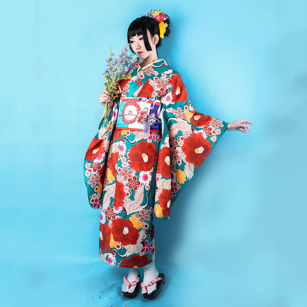 Japanese Style Women Print Flower Kimono Dress Traditional Geisha Performance Costume Elegant Long Sleeve Cosplay Costumes