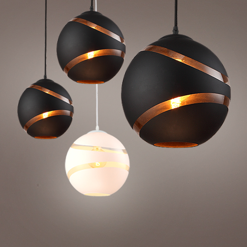 Vintage Creative Black/white Glass Ball Led E27 Pendant Light For Dining Room Bar Living Room Deco Dia 25cm 80-265v 1203 modern minimalism creative milk white frosted glass ball led e27 pendant light for living room dining room 1696
