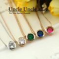 Office Lady Favourite!!! Rose Gold Plated Brand Design 7mm Zircon Inlaid Simple Lady Pendant Necklace Wholesale