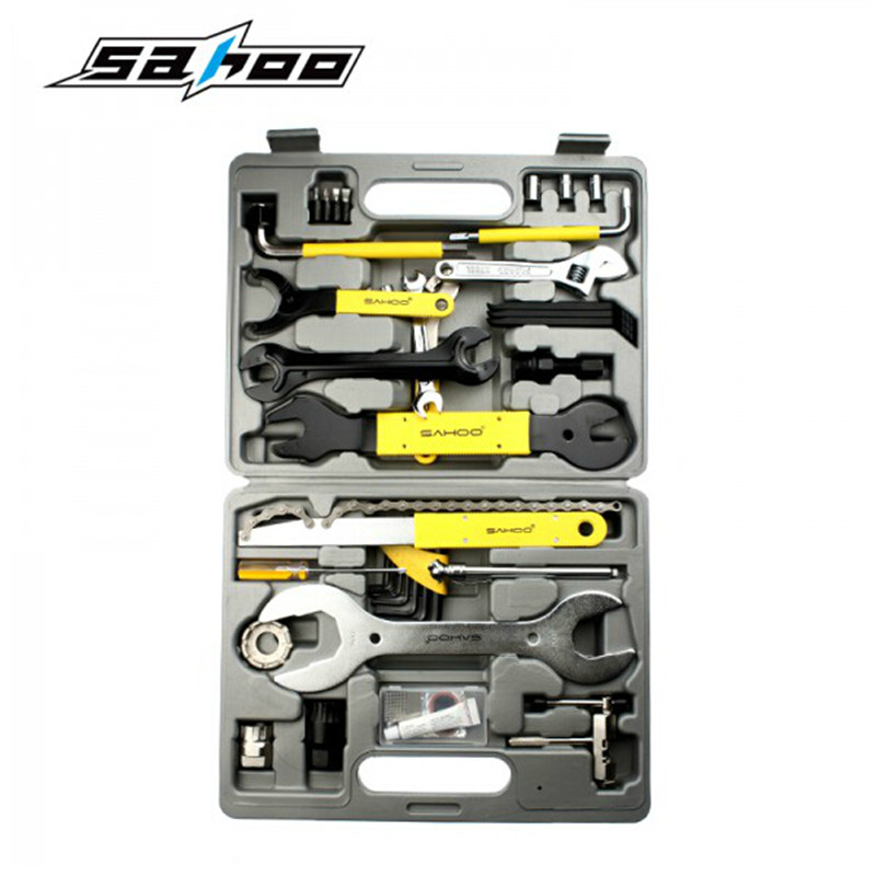 SAHOO 44 In 1 MTB Bike Bicycle Repair Tool Set Kit Case Box For Mountain Road Bicycle Accessories Free Shipping 6pcs set foss bicycle tire repair patch mtb road bike tube repair pad tool inner tyre service