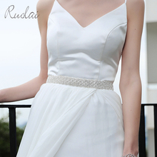 Gorgeous Silver Rhinestone Wedding Belt Sparkly Sash Ribbon Crystal Bridal Handmade Waistband Decoration FB7