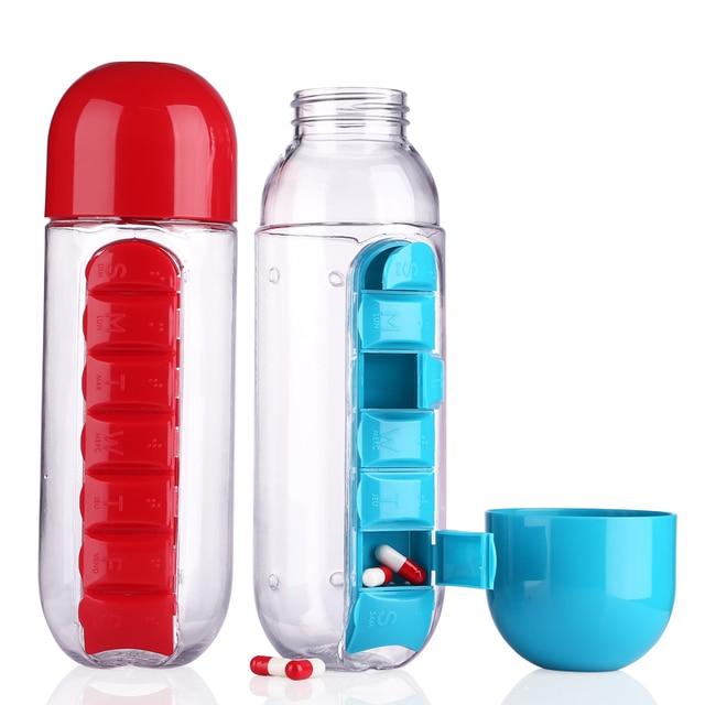 600ML Combine Daily Pill Box Organizer Drinking Leak-Proof Tumbler