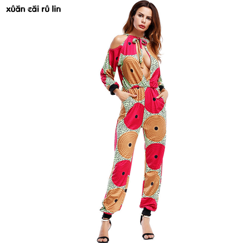 fashion printed sexy backless autumn Female jumpsuit 2017 Elegant Halter long trousers dungarees tunic causal slash neck macacao