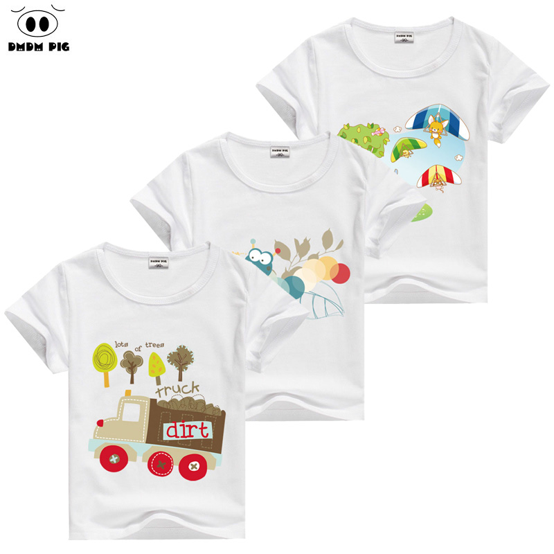 DMDM PIG 2017 Summer Cotton Baby Girl Boy Tshirt Car Childrens Short Sleeve T-Shirts For Girls Boys Clothes Kids T Shirt 9 Year
