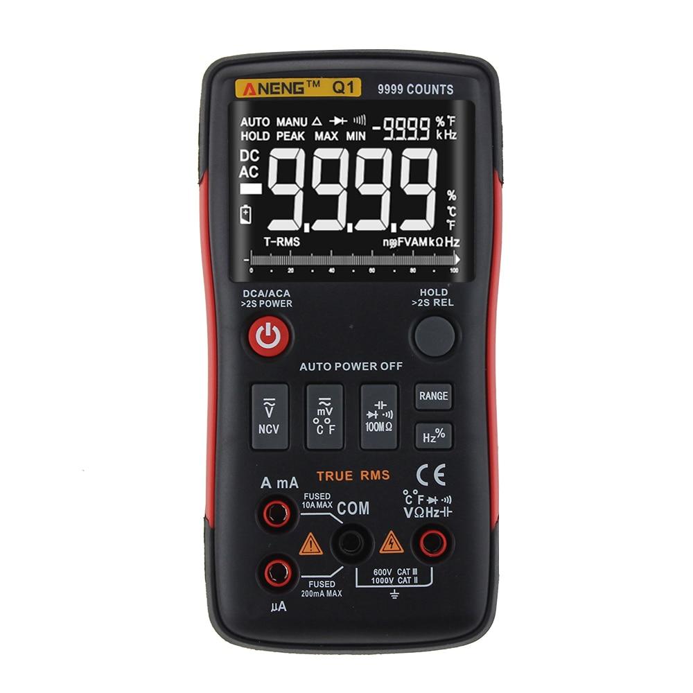 Q1 Trms Multimètre Numérique Auto Bouton 9999 Compte Avec Graphique à Barres Analogique AC/DC Tension Ampèremètre Actuel Ohm Transistor Testeur - 2