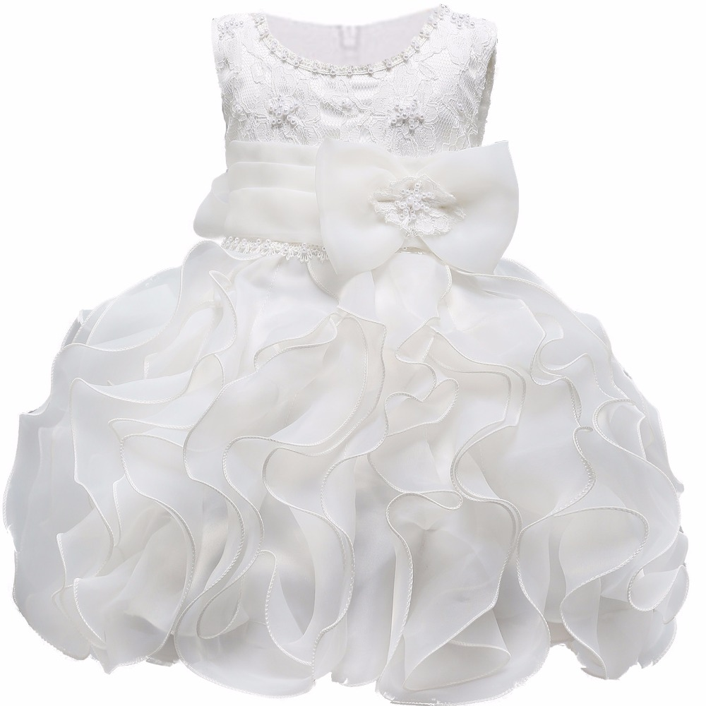 White Baby Girl Floral Lace Princess Tutu Dress Wedding Christening Gown Dress Girls Clothes For Kids Party Meninas Vestidos