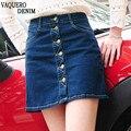 Saia jeans 2016 estilo verão mulheres saias curtas Sexy botão única linha Faldas A - linha azul Jean Casual moda cintura alta Mini