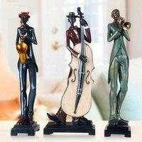 Spielen Saxophon Cello Suona Horn Musik Büste Statue Abstrakte Figur Musiker Figurine Harz Kunst & Handwerk Hause Dekoration R1452-in Statuen & Skulpturen aus Heim und Garten bei