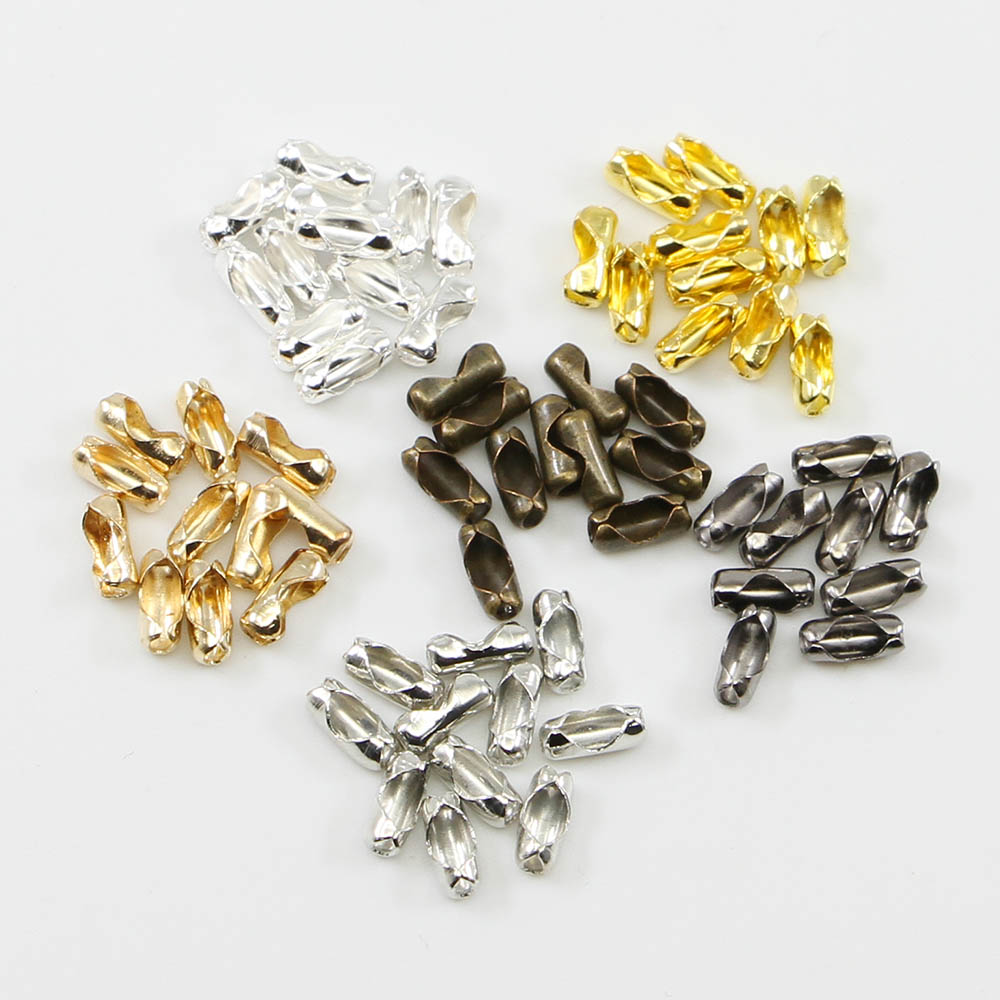 200Pcs 2.4/3.2/4/<font><b>4.5mm</b></font> Gold/Silver Ball Chain <font><b>Connector</b></font> Clasps End Bead Crimp Silver Tone Supplies For Jewelry Finding Making image