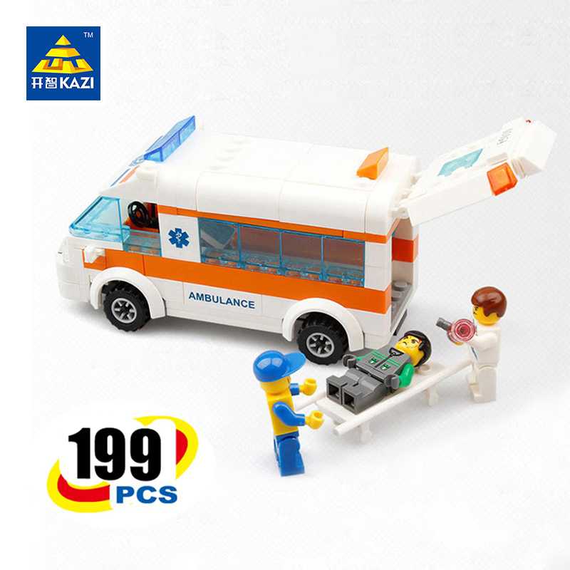 KAZI City Rescue Team Ambulance Bricks Kids Educational Learning Building Blocks for Ages 6+ Compatible with lego kazi city rescue model ambulance corps bricks brinquedos intelligence develop toys for children 6 ages 199pcs 85010