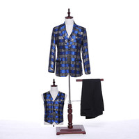 New Arrival Mens Classic Suits Slim Fit Wedding Suits Formal Groom Tuxedos Royal Blue Plaid Fabric