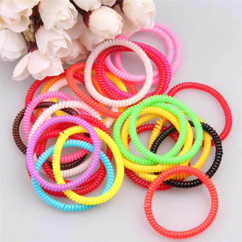 10 unidades/pacote alta elastic candy colorido telefone linha anel de cabelo acessórios corda cavalete primavera borracha banda headwear novo