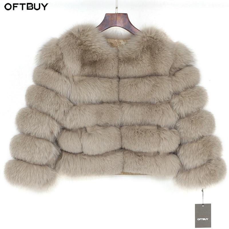 Brand 2019 Real Fur Coat Winter Jacket Women Natural Fox Fur Thick Warm Streetwear Outerwear Parka Casual Nine Quarter Sleeve