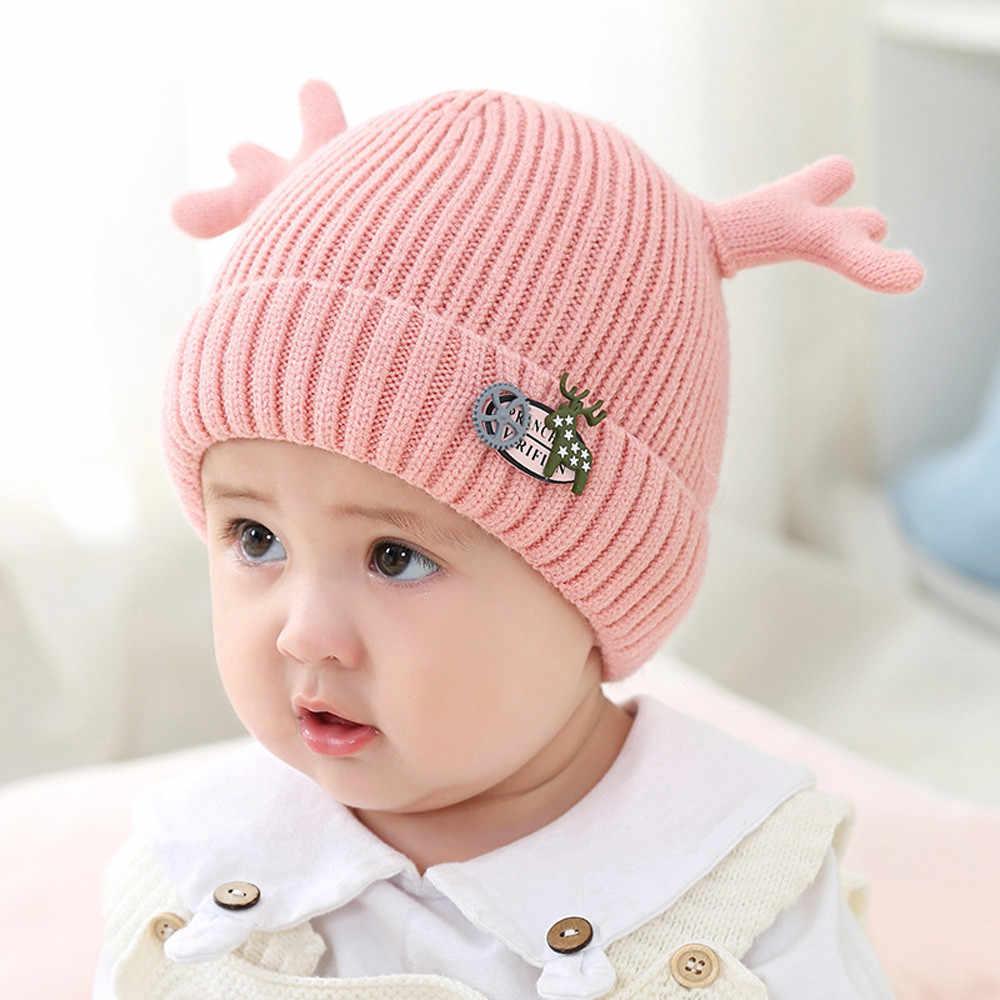 42bc5946761f61 ... 1PC Children Christmas Newborn baby hat Boy Girl Cap Deer Hat Winter  Warm Knit Crochet Beanie ...